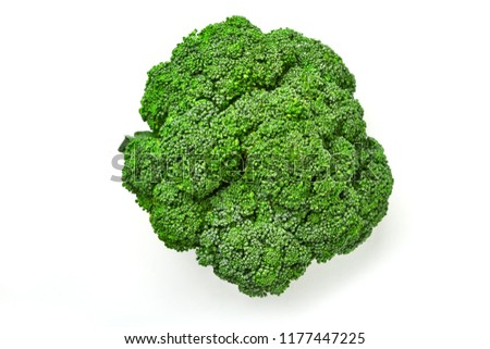 Broccoli cabbage top view on a white background. Top view of broccoli. Isolated