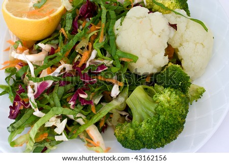 broccoli, cauliflower and salad