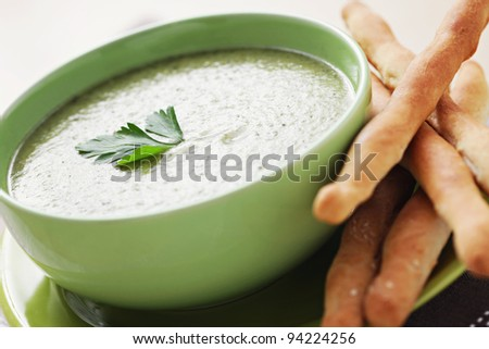 broccoli cream with grissini - food and drink