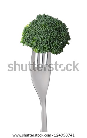 broccoli floret on a fork isolated against white background