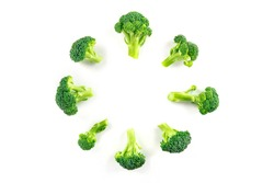 Broccoli florets, shot from the top on a white background, forming a circular frame with a place for text