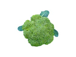 broccoli flowers on green leaves by isolated with clipping path on white background a top view of fresh green cabbage flower buds for salad and healthy food ingredient from organic vegetable farming