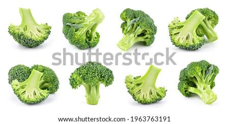 Broccoli isolated. Broccoli on white. Whole, half, slice, cut broccoli set. Foto stock ©