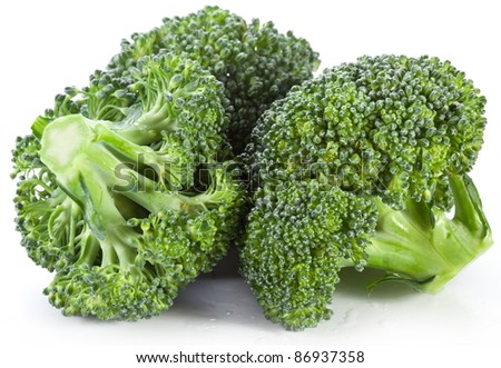 Broccoli on a white background.