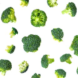 Broccoli Pattern. Summer  Vegetable background. Broccoli isolated