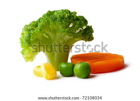 broccoli, peas, carrot and maize on a White background