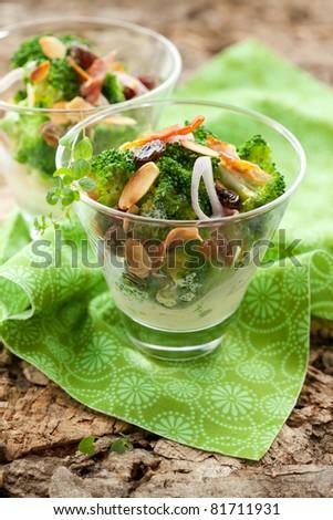 broccoli salad with almond,raisins,onion and bacon
