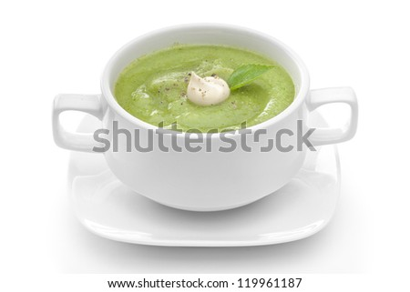 broccoli soup on white