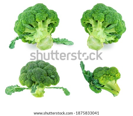 Broccoli vegetable isolated on white background. Raw green broccoli close up Foto stock ©