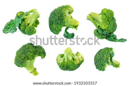 Broccoli vegetable isolated on white background. Raw green broccoli close up. Collection Foto stock ©