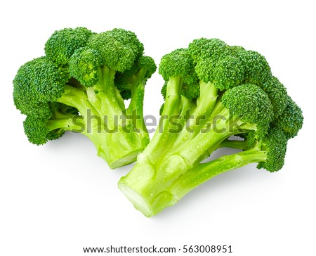 Broccoli with drops of water isolated on white background