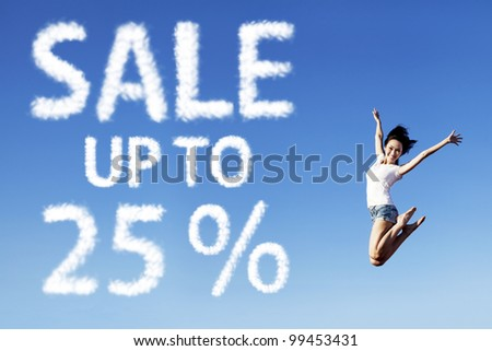 Brochure of happy Asian woman jumping with a sale sign