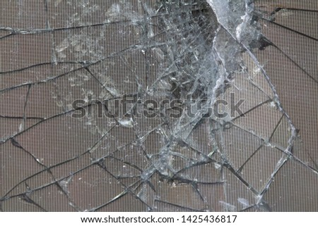 Brocken lcd screen background. Lcd display with cracks in the corner. Abstract background #1425436817