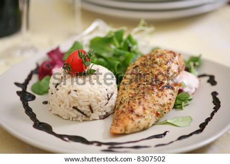 Broiled chicken breast with wild rice and summer salad