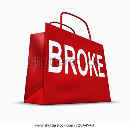 Broke and bankrupt symbol represented by a red shopping bag.