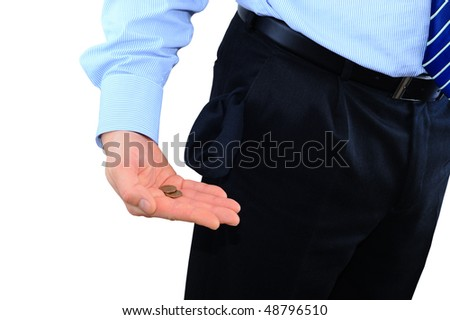 Broke businessman with two pennies