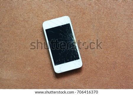 Damage and wet smart phone dropped on… Stock Photo 459149185