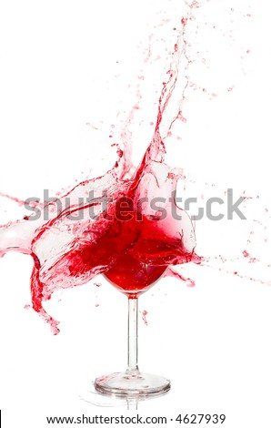 Broken a glass with wine on a white background