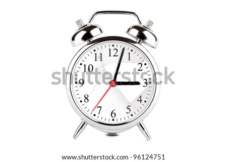 Broken alarm clock glass on the white background