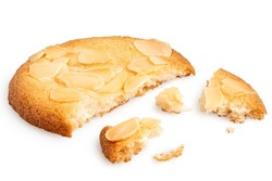 Broken almond flake biscuit isolated on white.