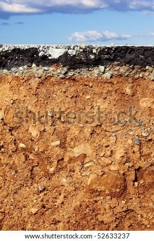broken asphalt road excavation earthquake cross section blue sky [Photo Illustration] Stock photo ©