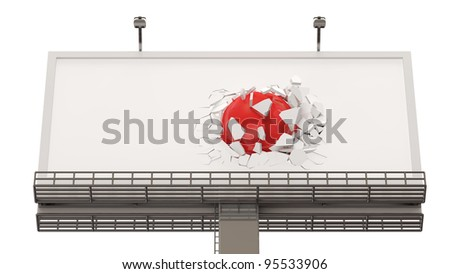 Broken Billboard with Red Sphere isolated on white background