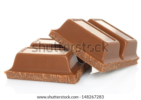 Broken black chocolate bar isolated on white background
