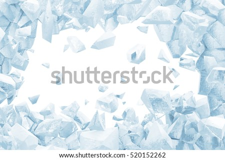 Broken Blue Ice Wall with Hole and Place For Your Text isolated on white background. 3D Rendering