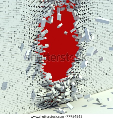 broken brick wall - destruction 3d concept