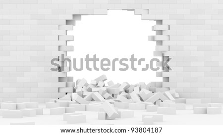 Broken Brick Wall isolated on white background