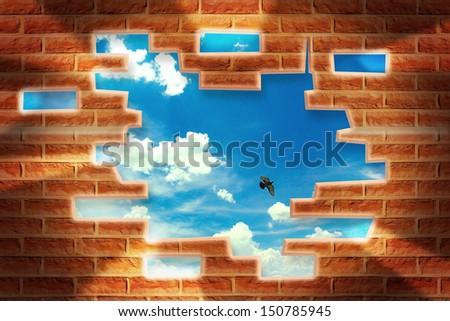 Broken Brick Wall with beautiful landscape behind