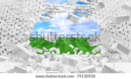 Broken Brick Wall with beautiful landscape behind