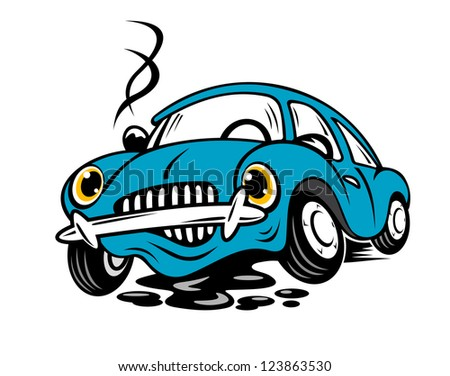 Broken car in cartoon style for repair or service concept. Vector version also available in gallery