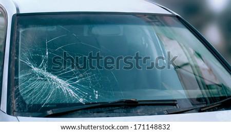 Broken car windshield. Accident of car. Selective focus