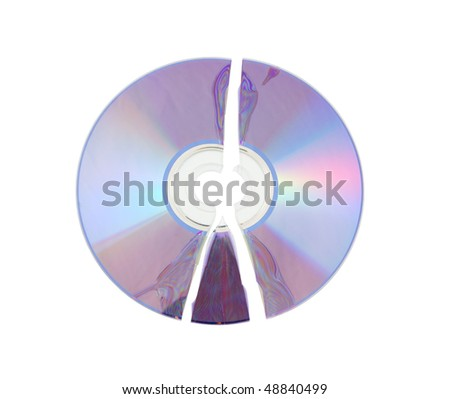 Broken CD isolated on white background