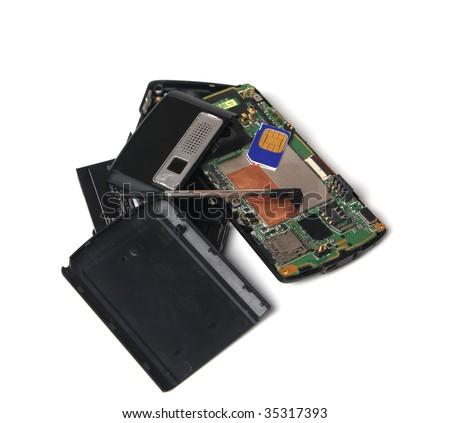 Broken cellphone isolated on white