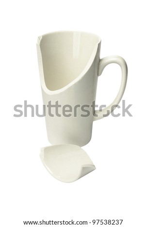 Broken Ceramic Mug on White Background