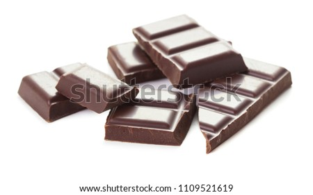 broken chocolate bar isolated on white background #1109521619