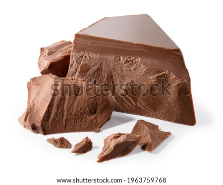Broken chocolate. Chocolate pieces isolated. Chocolate pieces on white background as package design elements. With clipping path.