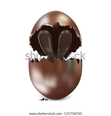 Broken Chocolate Easter Egg with Chocolate Bunny Inside over white background #131758760