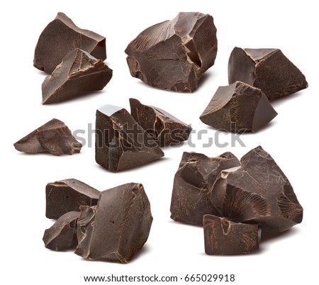 Broken chocolate pieces set isolated on white background as package design elements