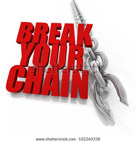 Broken chrome chain on white background, freedom concept image