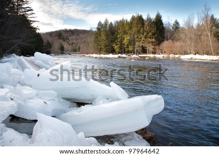 Broken chunks of ice on banks of small river