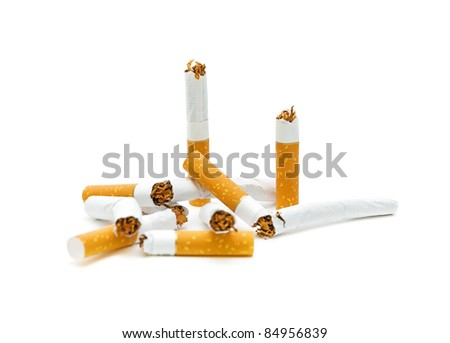 broken cigarette on a white background close-ups. No smoking.