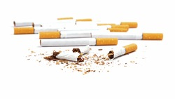 broken cigarettes isolated on white background, stop smoking.