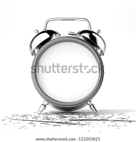 Broken clock isolated on a white background