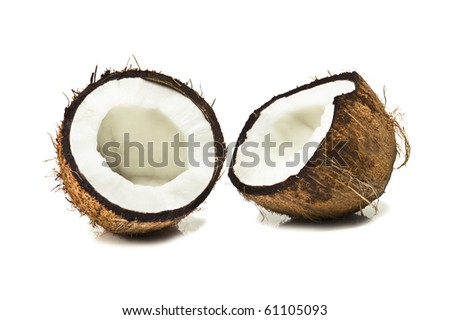 broken coconut isolated on white