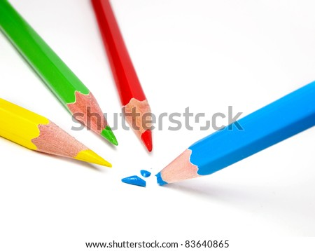Broken color pencil