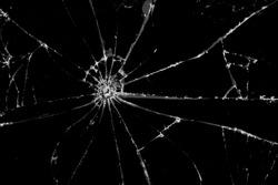 Broken cracked Glass on black