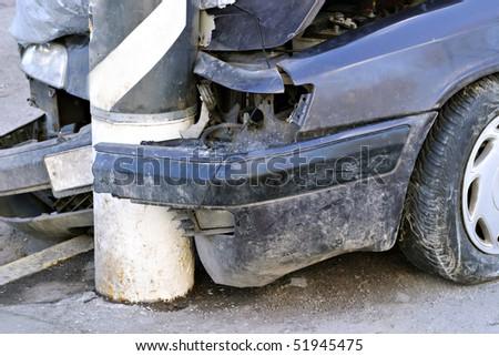 Broken crash car on the street, high resolution
